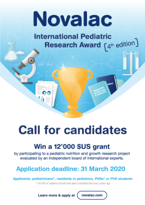 poster of the Novalac International Pediatric Research Award 4th edition - 31 March 2020