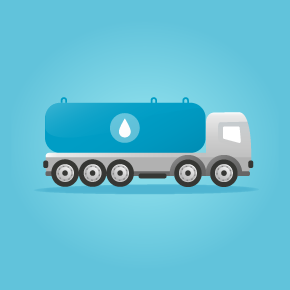 illustration of truck delivering milk